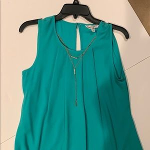 Speechless Teal Dress w/ Gold Chain,Scalloped Edge